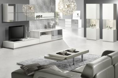 Białe meble – do pokoju z szarą kanapą