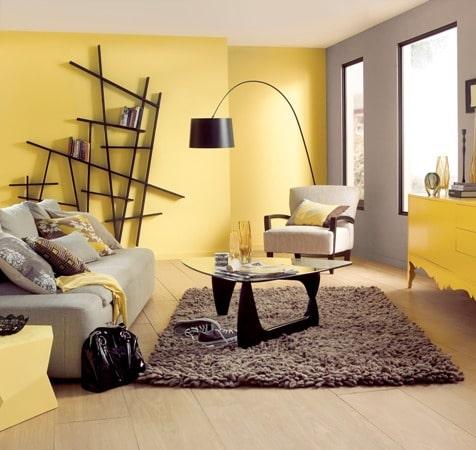 Pokój szaro-żółty, Dulux