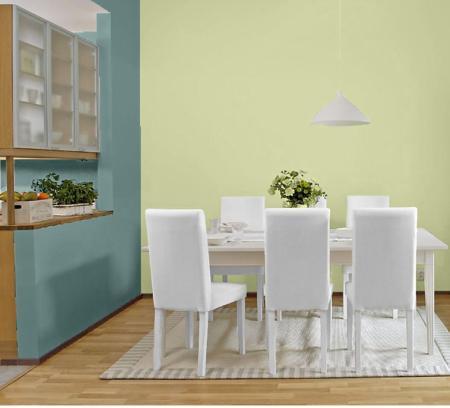 Kuchnia z niebieską ścianą Tikkurila