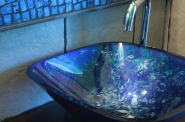 Umywalki szklane, miedziane, ręcznie malowane
