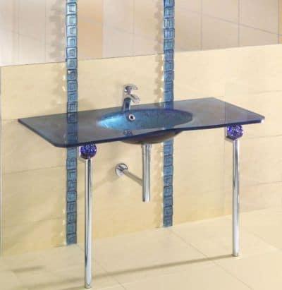 Umywalka z giętego szkła, wraz z blatem - Villa Glass Studio
