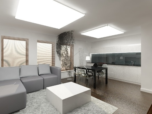 Pokój połączony z kuchnią - projekt Quadrat