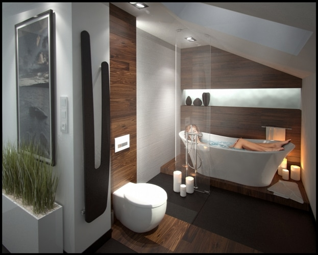 łazienka wykończona deskami iroko - DLH Polska