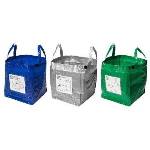 Zestaw toreb do segregacji śmieci. Jula