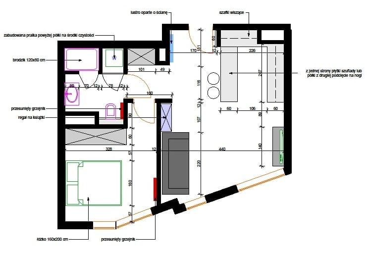 Projekt zmian w mieszkaniu 44 metry kw. - Pracownia Quadrat