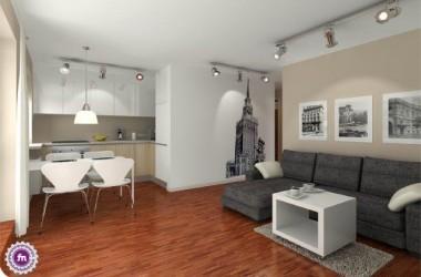 Małe mieszkanie 36 metrów z motywem Warszawa