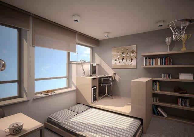 Łóżko wysuwane spod podestu - dobry pomysł do małego mieszkania