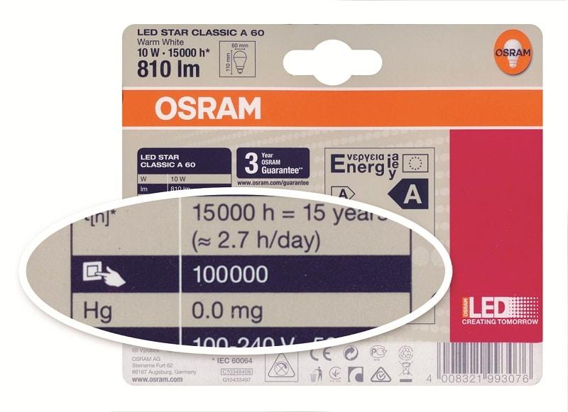 Oznaczenie określające liczbę cykli włączenia i wyłączenia LED