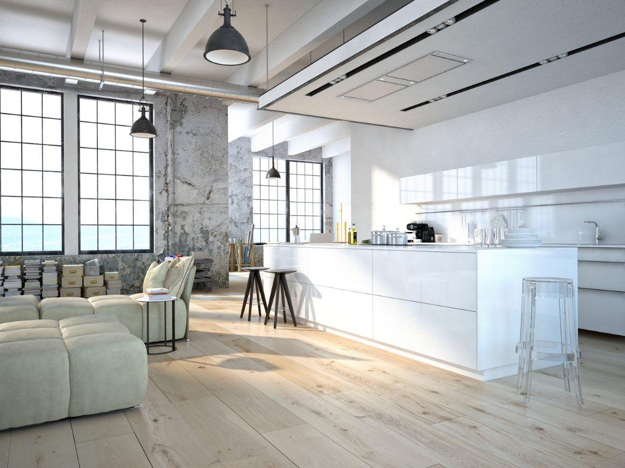 Zwevende Vloer Keuken : fot: Okap Cube Ciarko Design w kuchni industrialnej