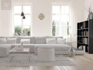 Biel w salonie w stylu skandynawskim - na ścianach farba Tikkurila kolor off white