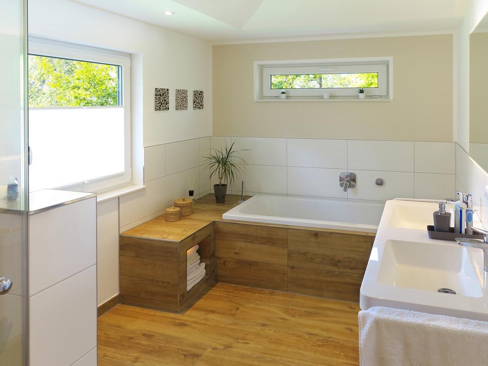 Łazienka wykończona drewnem