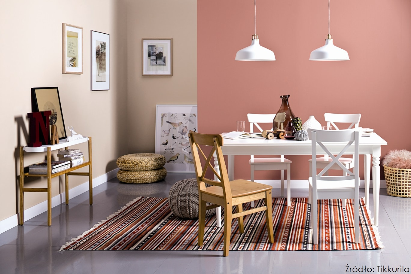 Color Now Hazy_Tikkurila Optiva Satin Matt 7_kolory V418 Rustic; X420 Maiden, Tikkurila Everal Aqua Semi Matt 40_kolor Bialy, Tikkurila Betolux Aqua_kolor 1946