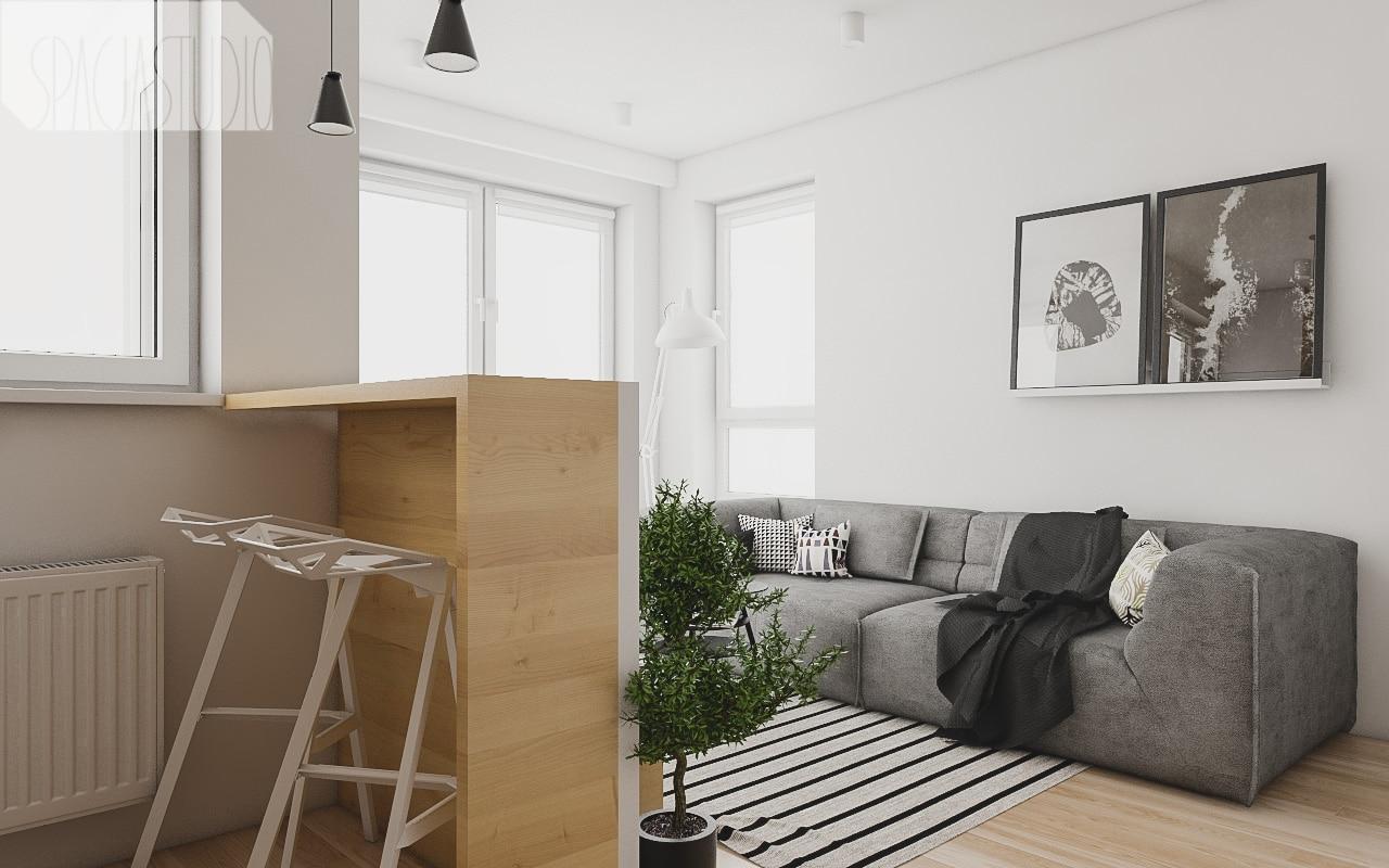 Niska ścianka dzieli kuchnię od salonu - po drugiej stronie ścianki jest telewizor