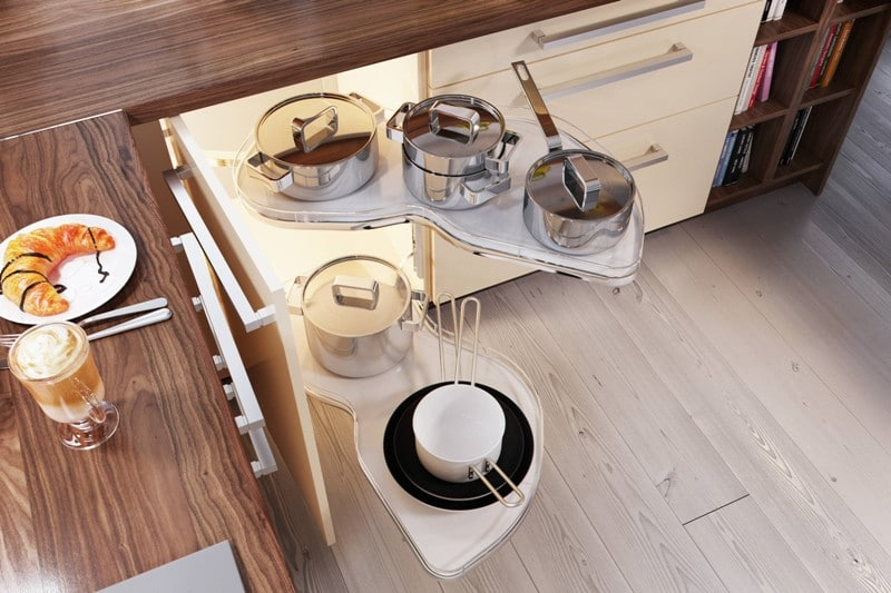 Półki obrotowe w szafkach kuchennych to sposób na wykorzystanie narożników