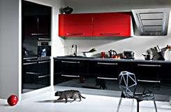 Kolor czarny i czerwony w kuchni