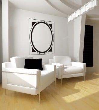 Naklejka AMPsign, w salonie, czarno-biała