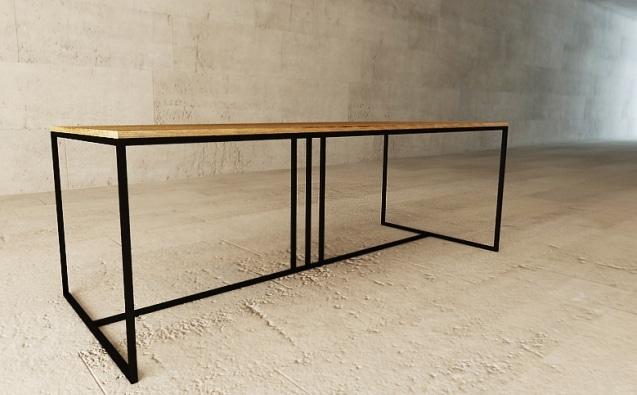 stół z blatem fornirowanym dębem (naturalny, czarny lub bielony dąb), nogi stal lakierowana, wym. 200x90 cm cena 5000 zł, 240x110 cm cena 5360 zł