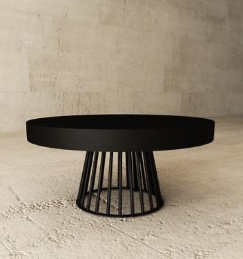 stolik okrągły, średnica 95 cm. blat fornirowany, podstawa stalowa lakierowana, KKraszewska