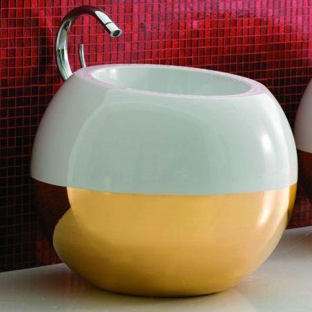 Coram, umywalka biało-złota