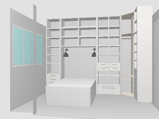 projekt zabudowy małej sypialni
