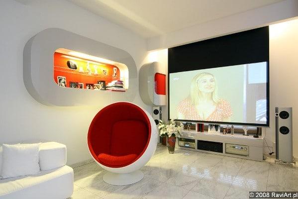 Oświetlenie w biało-czerwonym pokoju