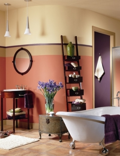Łazienka pomalowana farbą Benjamin Moore Aura Bath & Spa