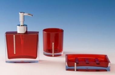 Akcesoria łazienkowe – czerwone, czarne, stalowe
