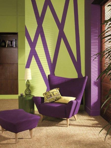 Fioletowe meble, ściany Dekoral Fashion Akrylit W