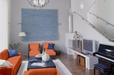 Ściany do pomarańczowych mebli