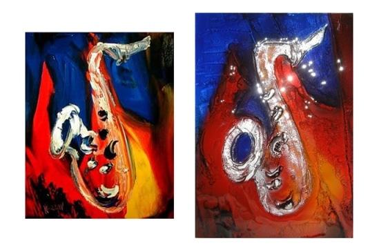 Drzwi szklane - wzór Saksofon. Villa Glass Studio