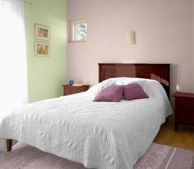 Fiolet i zieleń w sypialni - kolory Tikkurila