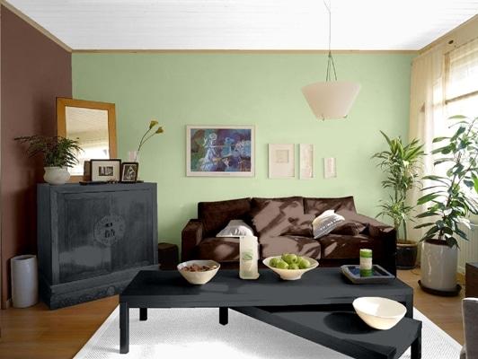 Tikkurila - brąz i zieleń na ścianie