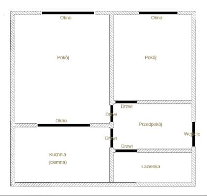 plan mieszkania z ciemną kuchnią