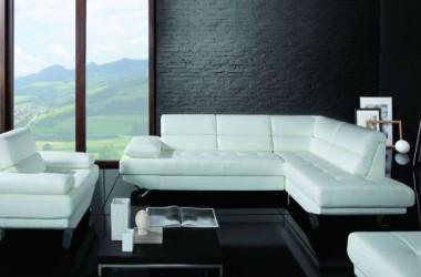 Biały narożnik rozkładany, fotel – w tkaninie lub skórze