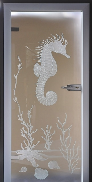 Drzwi szklane wzór konik morski