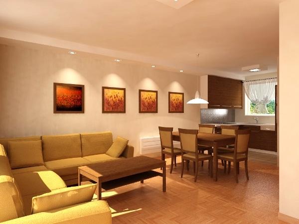 Mieszkanie w spokojnych beżowych odcieniach. Ściany jaśminowe. Projekt Quadrat