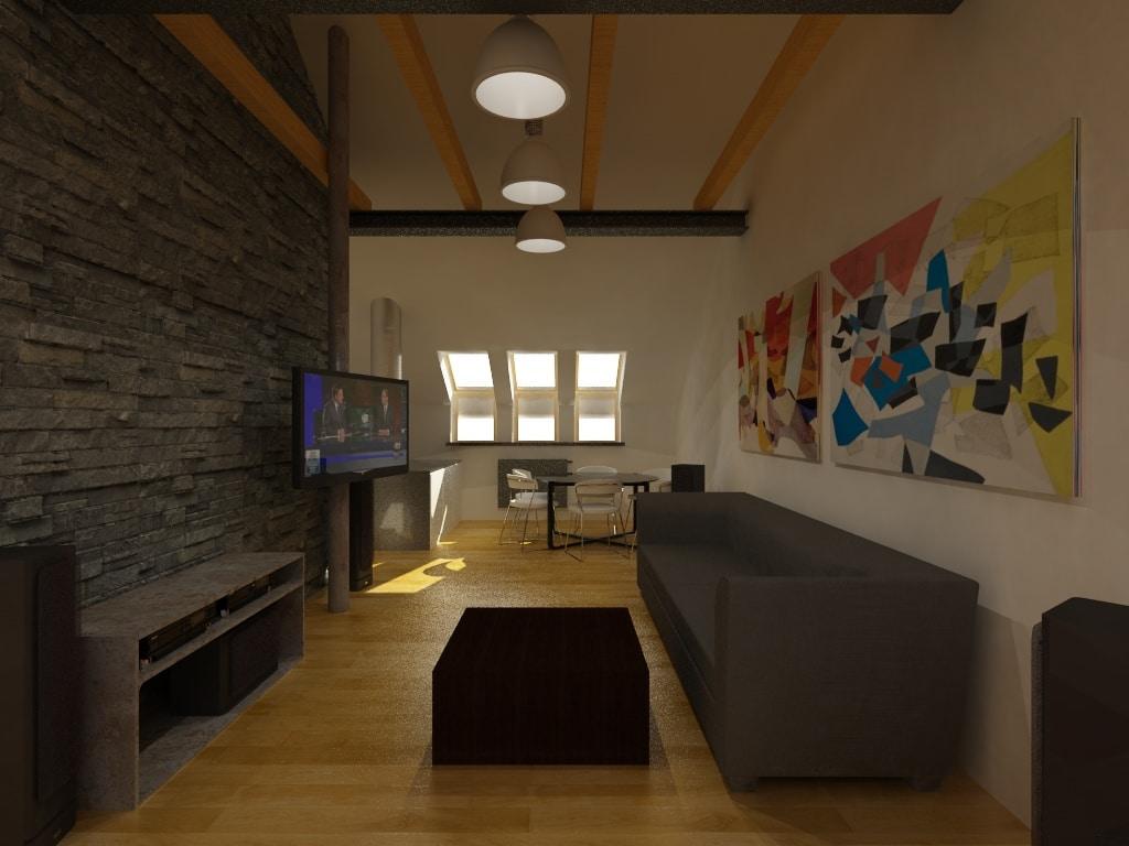 Pokój z dębową podłogą - projekt mieszkania Quadrat