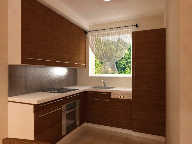 Brąz i bez w małej kuchni, projekt Quadrat, wykonanie MM Kuchnie