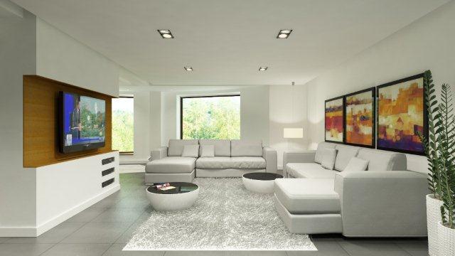 Pokój w jednolitej białej kolorystyce. Projekt Quadrat.pl