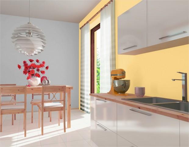 Ściany w białej kuchni pomalowane Dekoralem Kuchnia & Łazienka