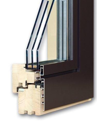 Okno Alutrend Quadrat - wewnątrz drewno, na zewnątrz aluminium
