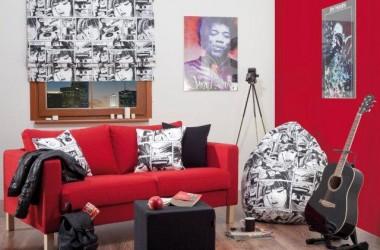 Czerwona ściana – do pokoju nastolatka