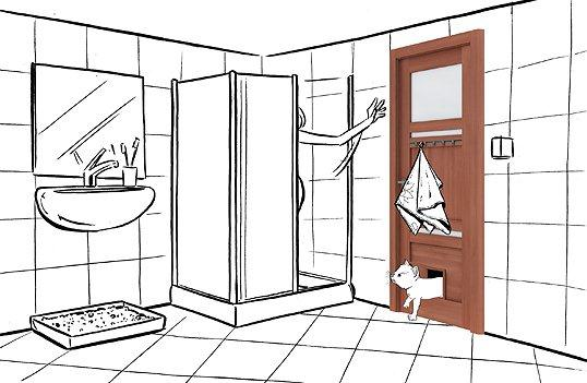 Łazienka z drzwiami z klapką wahadłową dla kota