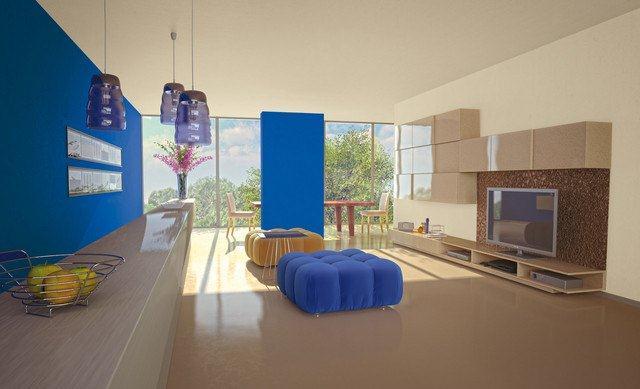 Blue jeans i Szyfonowy beż - nowoczesny pokój pomalowany farbami Dekoral