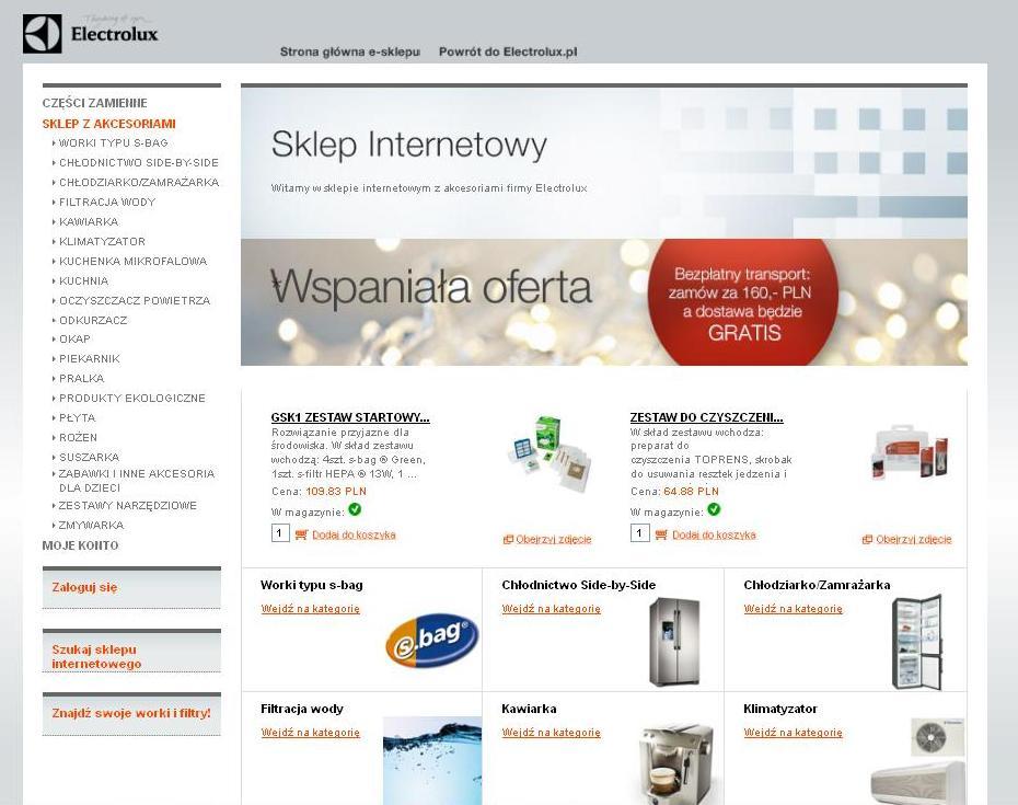 Strona główna sklepu internetowego Electrolux