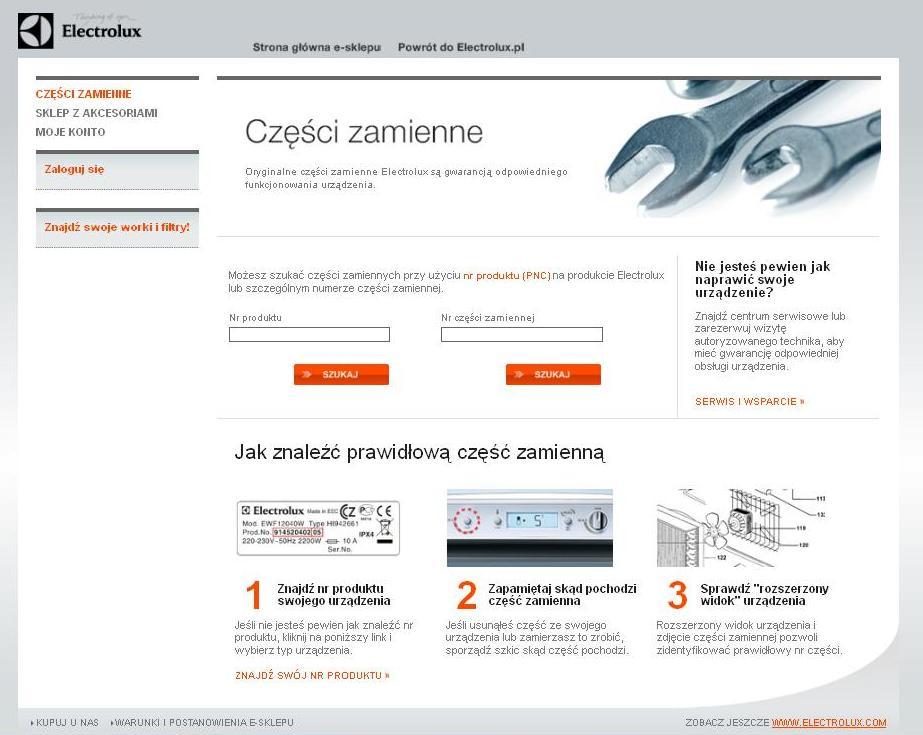 Części zamienne do urządzeń Electrolux można kupić w sklepie internetowym.