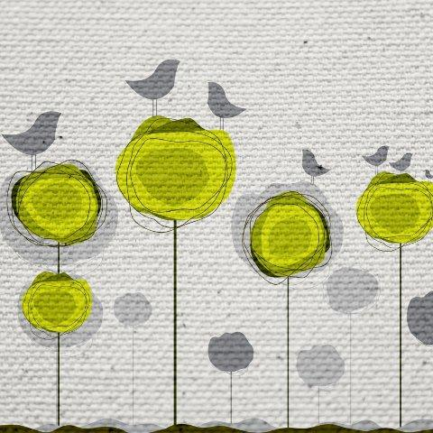 Ptaszki na drzewach - nadruk na płótnie