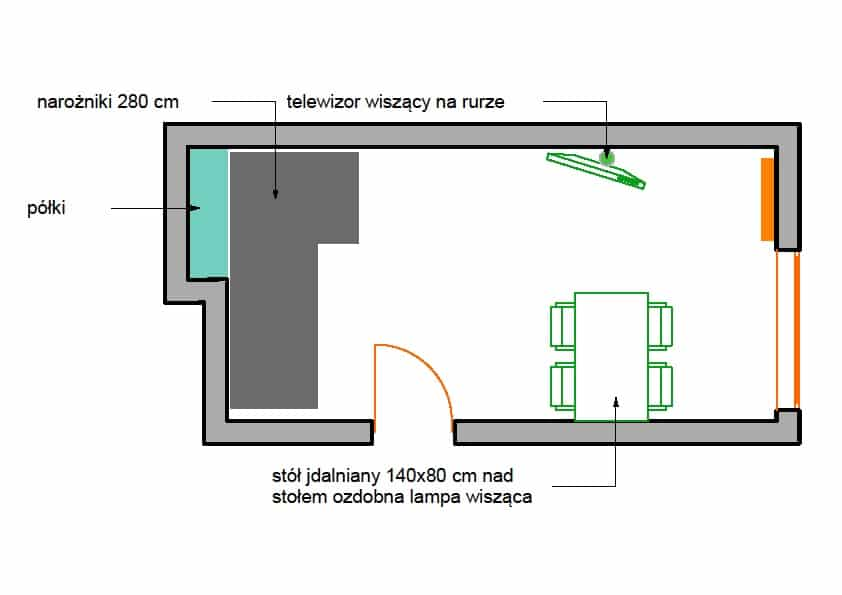 Projekt urządzenia wąskiego pokoju Pracowania Quadrat
