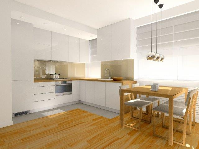 Zabudowa kuchenna w bieli powoduje, że pokój z kuchnia są optycznie większe; projekt Fabryka Nastroju