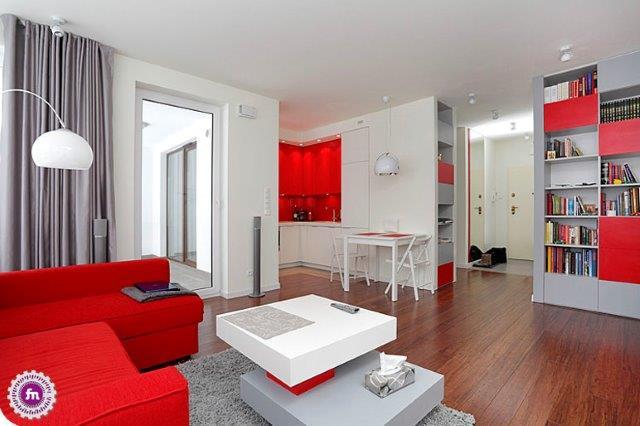 Mieszkanie w kontrastowych kolorach - projekt Fabryka Nastroju